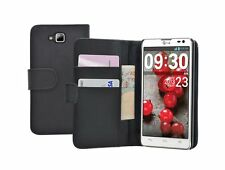 Black Wallet Leather Flip Case Cover Pouch Saver for LG Optimus L9 II 2 / D605