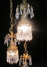 3lt Vintage ROCOCO hanging swag plugin lamp chandelier spelter brass plated tole