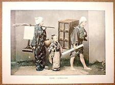 JAPON  Un déménagement - Photochromie fin 19ème  Gravure