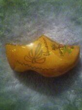 """3 Vintage Dutch Wooden Shoes from Holland Wood Painted Mini Small 2.5"""" Length"""