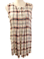 NEW DR2 Daniel Rainn Anthropologie Plaid Sleeveless Womens Shirt Top size Small
