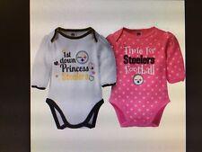 b18fdcef Pittsburgh Steelers NFL 2-Pack Baby Girl Long Sleeve Bodysuits, 0-3 Months