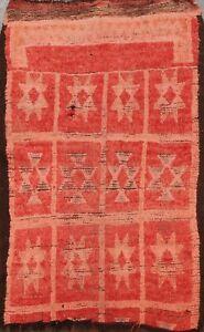 Antique Tribal Geometric Authentic Moroccan Oriental Area Rug Handmade Wool 4x6