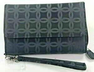 Mundi / My Big Fat Wallet /BLACK Pattern Textured Poly/ Safe Keeper NIB/ Reg $44