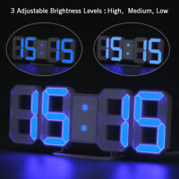 Digital 3D Large LED Wall Clock Alarm Clock Snooze 12/24 Hour Display USB Charge