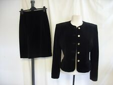 Ladies Skirt Suit Ann Field Collection, UK 12 black velvet, lined, smart 8121