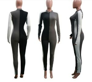 Women Knitted Patchwork Ribbed Zipper Long Sleeve Party Bodycon  Jumpsuit #Z2