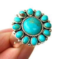 R973  Bague Style Amérindien Argent Massif 925  Turquoise t57
