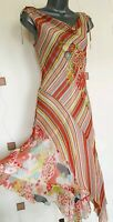 DRESS SMALL S STRIPES FLORAL ASYMMETRIC SUMMER HOLIDAY PARTY OCCASION BOHO GYPSY