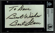 BART STARR  SIGNED INDEX CARD AUTOGRAPHED BECKETT BAS