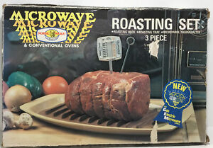 New In Box Vintage Nordic Ware Microwave Roasting Rack Tray Thermometer-3 Pc Set