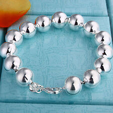 Wholesale Price 925Sterling Silver Lovely Prayer Beads Ball Bracelet 10MM H136
