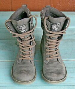 Rocket Dog Womens Combat Biker Grey Ankle Boots Sz 7 Leather Buckle Straps