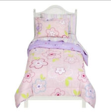 TODDLER BED SIZE - Circo - Pink Flower Dots  4-Pc REVERSIBLE BEDDING SET
