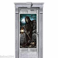 HALLOWEEN CEMETERY GRAVE DIGGER DOOR COVER TOMBSTONE  REAPER BONES POSTER BANNER