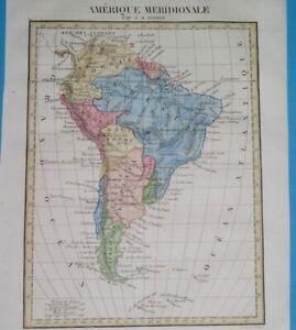 1843 RARE ORIGINAL MAP SOUTH AMERICA SRGENTINA PATAGONIA BRASIL FALKLANDS