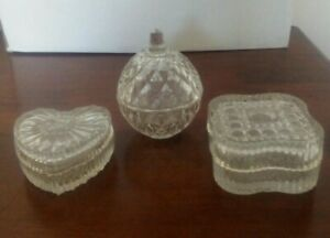 Collection of three Vintage cut crystal boxes.dressing table ,trinket dishes
