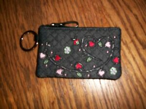 NWOT Vera Bradley Zip ID Black Quilted with Heart Design on Back