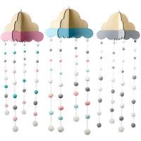 Cloud Paint Wood Rotary Pom Pom Ball Hanging Crib Mobile Wind-Bell Nursery Decor