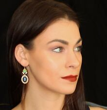 Vintage Kate Spade Royal Cache Earrings framed emerald green sapphire blue drop
