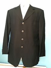 100% SILK VERSACE  CLASSIC  BLACK  JACKET VERSACE SILVER BUTTONS CHEST 44 UK