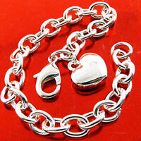 Bracelet Bangle Real 925 Sterling Silver S/F Ladies Solid Bling Link Heart Charm