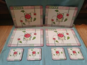 Charles Rennie Mackintosh Inspired Set Of 4 Matching Placemats & 4 Coasters GC