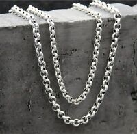 Pure 925 Sterling Silver Necklace 5mm Rolo Link Chain Necklace for Men