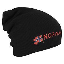 Long Beanie Winterbeanie Muetze Stickmotiv Flagge Norwegen Norway 54594 schwarz