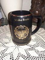 Vintage Idaho State University Ceramic Beer Stein Mug Blue w.Green Gold Trim
