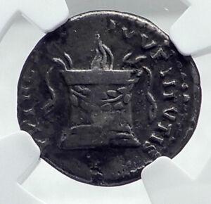 DOMITIAN as Caesar under TITUS 80AD Rome Silver Roman Coin ALTAR NGC i81351