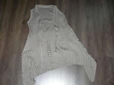 veste CARDIGAN gilet laine côtes viscose taupe beige FEMME taille unique 38 40