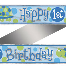 12ft Foil Blue Turtle 1st Birthday Banner