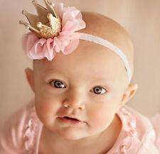 Girl Kids Baby Princess Pink Chiffon Lace Tiara Gold Crown Tiara Hair Headband