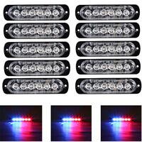 10X Red/ Blue 6 LED Emergency Beacon Warning Hazard Flashing Strobe Light Bar