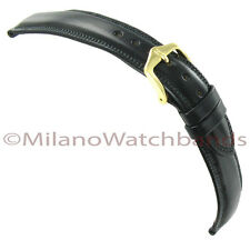20mm Hirsch Ascot Black Genuine Leather Padded Stitched Mens Watch Band Regular