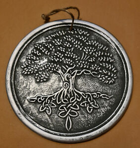 Silver Coloured Terracotta Tree Of Life Wall Plaque (F110)