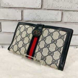 Used GUCCI Sherry Line Long Wallet GG PVC Authentic Leather  From Japan ship