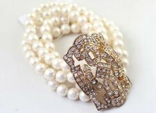 B137 Betsey Johnson Shimmering Pearl Bride Wedding Accessories Multi Bracelet AU