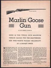 1962 MARLIN Goose Gun 3-page Article w/ Exploded View and Parts List