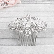 Bridal Silver Crystal Rhinestone Diamante Hair Comb Clip Wedding Headpiece