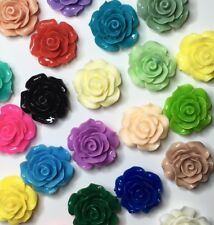 12 x resin rose flower plastic flat back cabochon Assorted 19 - 20mm - FREE POST