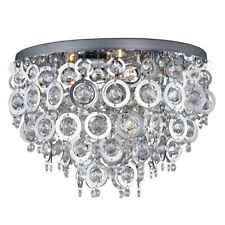 Searchlight 5 Light Modern Chrome Clear Acrylic Flush Ceiling Fitting Chandelier