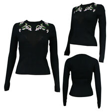 Womens Ladies Embroided  Mesh Jumper Floral Mike Ember Flower Stylish Knit Top