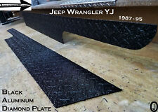 Jeep Wrangler YJ Black Aluminum Diamond Plate Side Rocker Panel Set 6'' WIDE