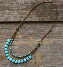 Natural Stone Teardrop Beaded Turquoise & Agate Boho Layered Chakra Necklace