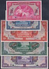 Suriname Set 2 1/2, 5, 10, 25 & 100 gulden SPECIMEN 1942/8, UNC, Pick 6/7/8/9/10