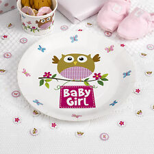8 x Baby Shower Plates Little Owls Pink Girls Christening paper plates FREE P&P
