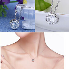 Fashion Women Round Single Crystal Rhinestone Silver Pendant Necklace Jewelry T