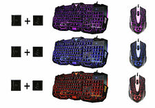 3 Color USB Wired Crack LED Illuminated Backlit Pro Gaming Keyboard + Mouse Set